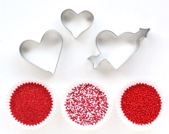 Valentine's Day Cookie Decorating Kit - Heart Cookie Cutters with Red and White Sprinkles