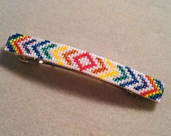 Rainbow Hand Beaded Barrette 2