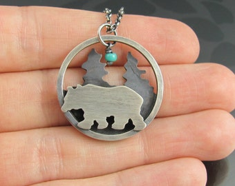 grizzly bear and trees necklace - sterling silver copper necklace - landscape necklace - animal - wild - turquoise bead - forest