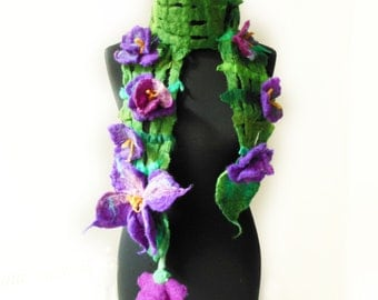 felted artistic violets eco friendly scarf, eco friendly, spring fashion