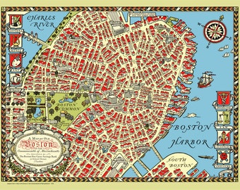 Beacon hill boston etsy Boston public garden map