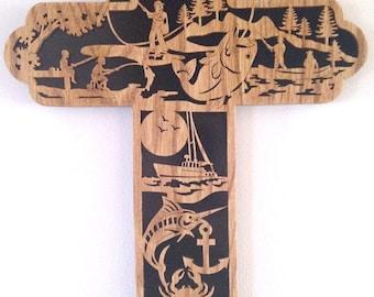 Fishing cross scroll saw cut--13cr