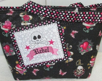 Rebel Punk Skull Large Tote Bag in Hot Pink and  Black Tattoo Skulls Purse Ready To Ship
