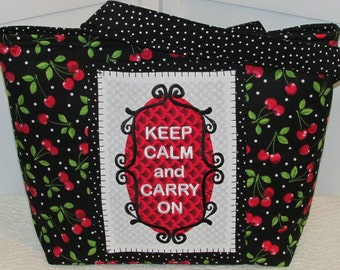 Keep Calm and Carry On  Large Tote Bag Polka Dots and Cherries Purse Ready To Ship