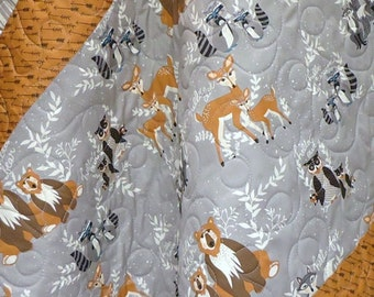Modern Baby Quilt-Hello Bear and Organic Birch Fabric-Grey Gray Arrows Woodgrain-Bear-Deer-Fox-Raccoon-Woodland Baby Blanket