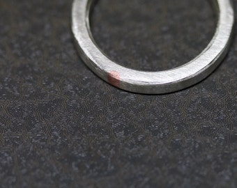 Unique Narrow Men's Wedding Band Silver Copper Modern Minimalistic 3mm Wide Ring For Him Groom Understated Handmade Design Man - Subtle Pink