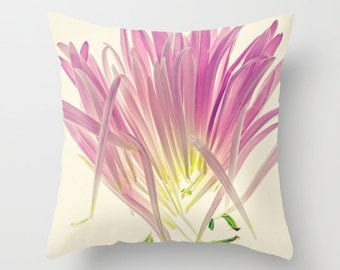 "Throw Pillow, Botanical Print, Pink Flower Pillow, Decorative Pillows ""Love Me, Dhalia"" 18x18, 16x16"
