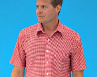Vintage 1960s Men's Red Checked Arrow Knits Short Sleeve Rockabilly Shirt