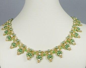 Woven Super Duo Collar Necklace Green