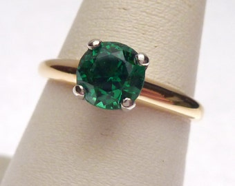 14 kt Green Synthetic Spinel Solitaire May Birthstone Ring Yellow Gold 1950s