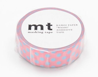 Pink & Blue Polka Dot Tape, DECO, Japanese mt Washi Paper Masking Tape, Kawaii Collage, Wrapping, Adhesive Tape, Card Decoration, MT01D233