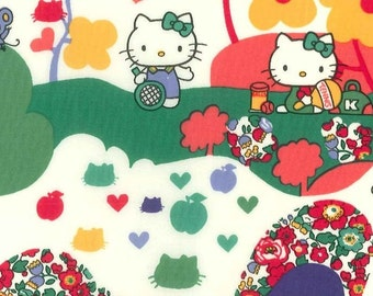 Liberty Tana Lawn Fabric - Liberty Japan Limited, Hello Kitty Orchard, Liberty Print Cotton Scrap, Kawaii Patchwork Quilt Fabric, 27