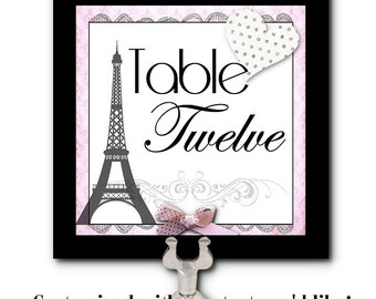 Table Number Cards, Food Label Cards, Name Cards, Wedding, Rehearsal Dinner, Bridal or Baby Shower, Eiffel Tower, French, Pink, Parisienne