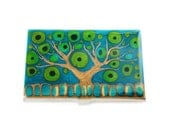 Business Card Case in Hand Painted Enamel Teal Red Black and White Tree of Life Metal Wallet Personalized and Custom Color Options
