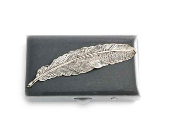 Ravens Feather Pill Box Inlaid in Hand Painted Enamel Gray Opaque Rectangle Pill Holder Personalized and Color Options