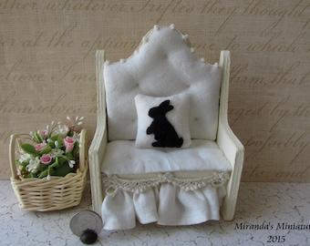 Dollhouse Miniature Bunny Rabbit Silhouette pillow