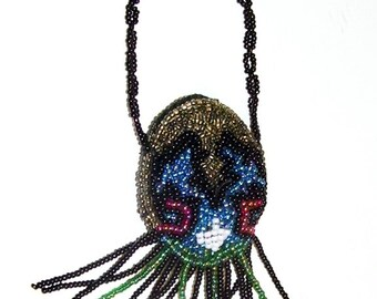 Small Miniature Beaded Purse with Fringes, Doll House Purse, Childrens Purse, Purse with Beads, Ladies Vanity, Native American Beading
