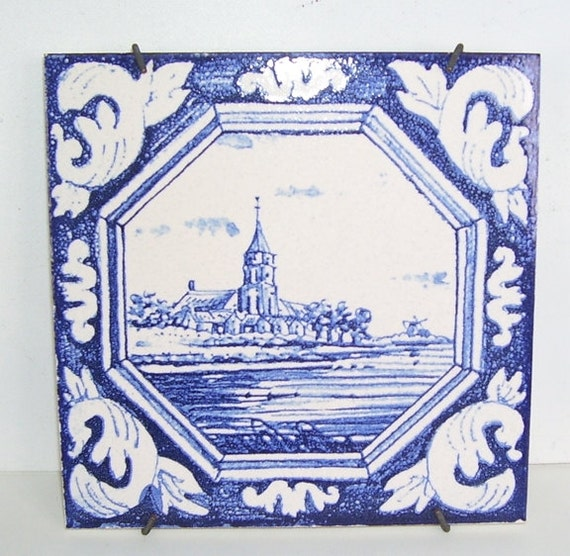 Mettlach Germany  city photo : Mettlach Germany Delft Blue Hanging Pottery Tile, Made in Germany ...