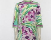 EMILIO PUCCI 1960's Vintage Dress - Purples and Greens Geometric Op Art Spiral Frock
