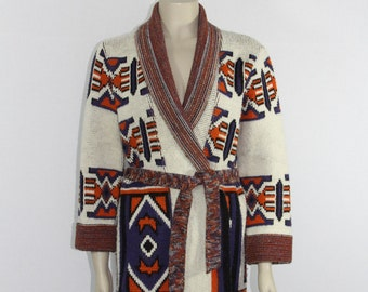 1970's Vintage Sweater - Tribal Design Boho Indie 70's Sweater with Matching Belt