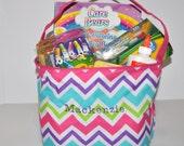 Personalized Bucket, Monogrammed Tote/ Basket, Chevron Bucket/ Embroidered Bag.  Toy or Picnic Basket, Easter Basket Bag