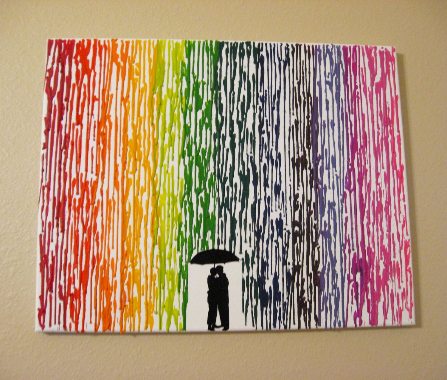 Melted crayon art handmade original encaustic wax painting for Arts and crafts ideas for couples