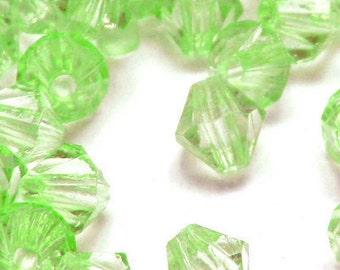 "21mm x 20mm (27/32"" x 13/16"") Light Green Bicone Acrylic / Plastic Beads (18 pcs).  2.59mm hole.  052102"