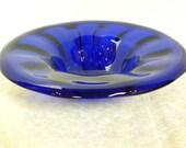 Vintage Cobalt Blue Lead Crystal Art Glass Bowl -- Hand blown design