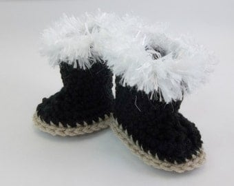 18 inch Doll  Crochet Black Boots with White Fur Trim Doll Clothes