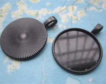 20pcs 27mm Black round cameo/cabochon base setting pendant blanks(fit for 25mm cabochons)