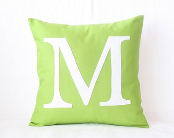 Monogram Pillow Typography Initial Pillow Case | Custom Color Modern Letter Applique | 12x12 Cushion