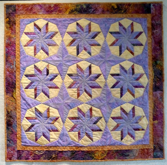batik star purple brown Wall hanging quilt