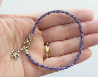 5 Purple leather bracelets 24 x 3mm