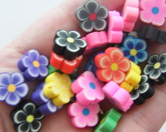 100 Polymer clay flower beads 13 x 12mm B105