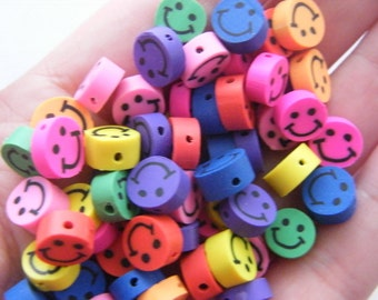 100 Polymer clay smiling face beads 9mm B158 - SALE 50% OFF