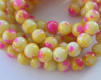 106 Yellow pink glass beads B170