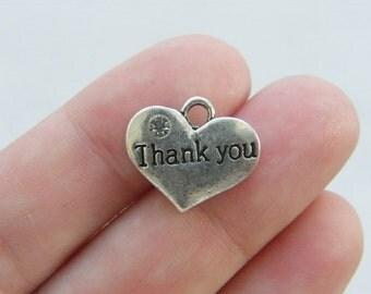 BULK 20 Thank you charms antique silver tone M461