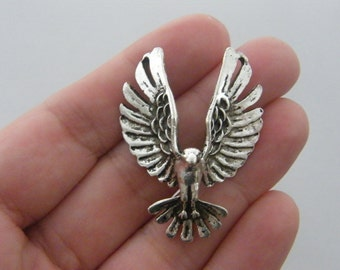 1 Eagle connector charms antique silver tone B107