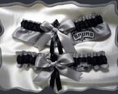 Silver Satin Ribbon Wedding Garter Set Made with Spurs Fabric