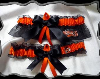 Black Organza Ribbon Wedding Garter Set Made with Bengals Fabric