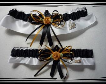 UCF White Satin Skinny Ribbons Wedding Garter Set