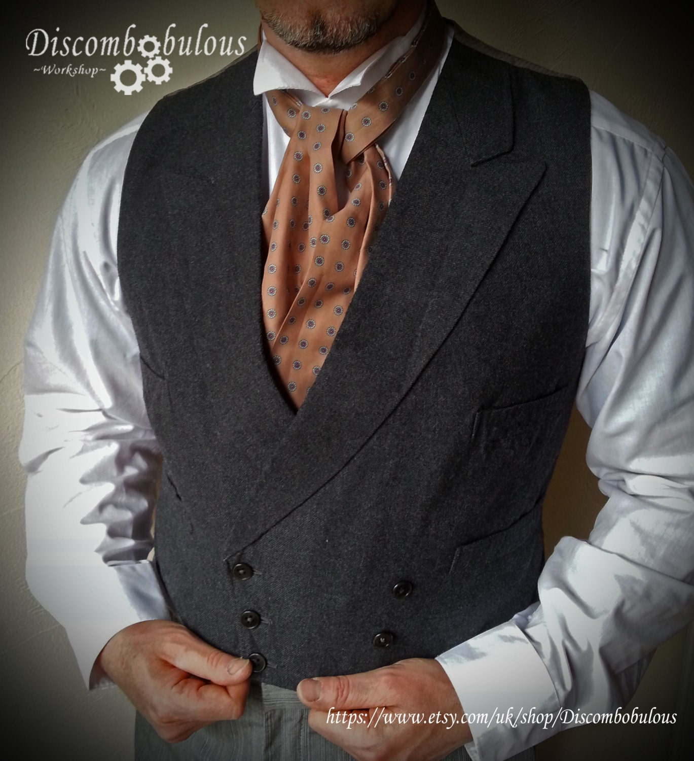 Vintage waistcoat with lapels / collar, steampunk steampunk buy now online