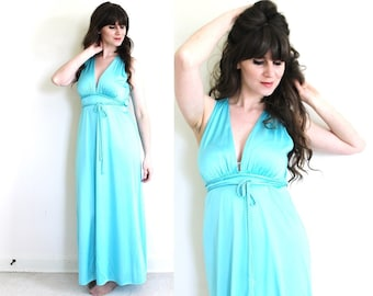 Aqua Nightgown / 1970s Grecian Goddess Nightgown