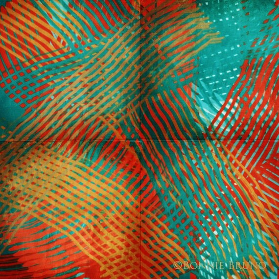Turquoise and Tangerine Weave fine art print colorful wall decor, square contemporary abstract modern home decor