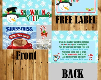 Snowman Soup / Snowman Bag Topper / School Christmas / Hot Chocolate Bag Topper / Printable Christmas / Hot Cocoa / Instant Download