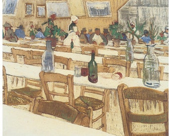 Wooden jigsaw puzzle. RESTAURANT 1. Van Gogh. Impressionist puzzle. Impressionism. Wood, handcut, handcrafted, collectible. Bella Puzzles.