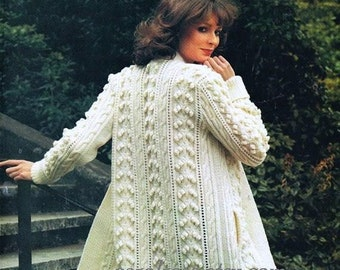 SALE ****** Knitting PATTERN - Ladies Aran Fisherman Knit Coat - Retro - Sizes 32 to 40 in bust