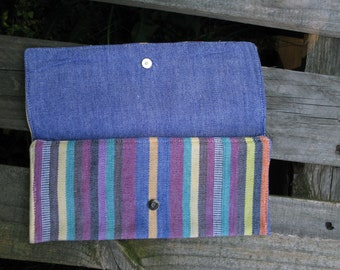 SALE Trifold Handwoven multicolor stripe wallet with blue chambray interior