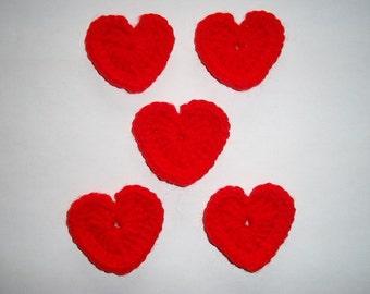Medium Red Heart Appliques - Set of 5
