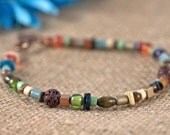 Multi beaded anklet, copper charm, wood beads, lava beads, greek chip beads, orange, blue, red, green